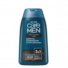 """3 в 1 Шампунь, кондиционер и гель для душа Avon Care Men """"Сила черного угля"""", 200 мл"""