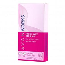 Avon Works Набор для удаления волос на лице: восковые полоски + влажные салфетки